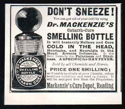 Catarrh Cure Mackenzie's Smelling Bottle 1906 Print AD