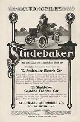 Studebaker Electric Car 1904 AD Gasoline Tonneau Automobile Horseless Vehicle