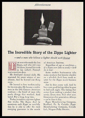 First Zippo Lighter 1959 Ad Incredible Story Cigarette Pipe Cigar Tobacco - Paperink Graphics