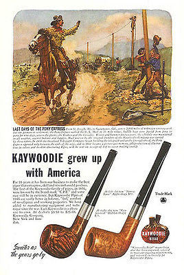 Kaywoodie PIPE Tobacco Pony Express Linemen Wire West Norman Price Print 1946 AD