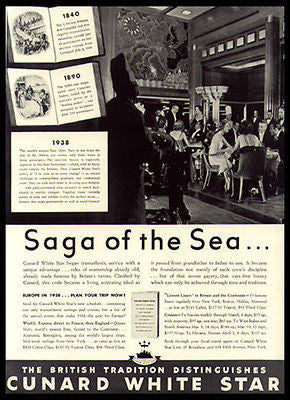 Cunard White Star Queen Mary Newest Fastest Ocean Liner 1938 Photo Ad - Paperink Graphics