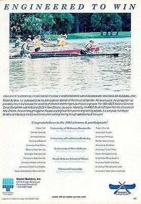 Canoe Race 1994 Sports Ad Competition ASCE Master Builders - Paperink Graphics