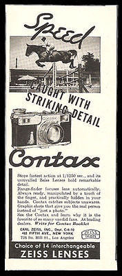 Contax Camera Ad 1937 Equestrian Action Photo Zeiss Lenses - Paperink Graphics