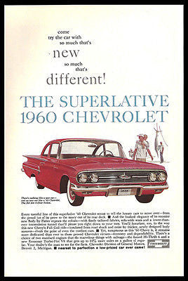 Chevrolet Bel Air 2 dr Sedan Red Chevy 1960 Photo Ad - Paperink Graphics