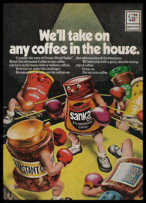 Ringside SANKA Boxer Knocks Out All Coffees 1972 AD