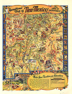 New Mexico 1946 Map AD Recreation Tourist Travel Promo Land of Enchantment