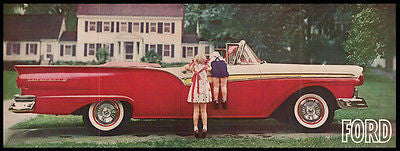 Ford Fairlane 500 Red Convertible 1956 Wide Photo Ad