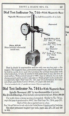 Dial Test Indicator No. 744  Brown & Sharpe Tool Catalog Guage Ad 1941