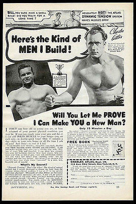 "Body Building Charles Atlas ""Men I Build"" 1944 Ad - Paperink Graphics"