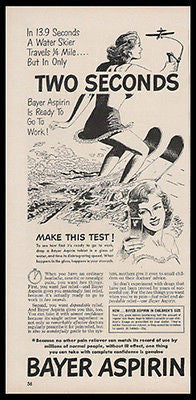 Water Skier Beauty Tethered to Airplane 1950 Bayer Aspirin Print Ad