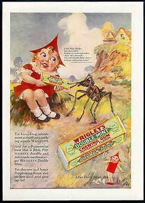 WRIGLEY Gum Miss Muffet Huge Spider 1928 Rhyme AD - Paperink Graphics