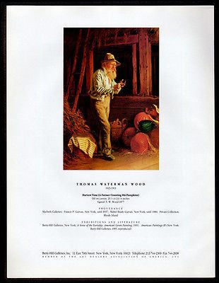 Farmer Counts Pumpkin Harvest Gallery Art AD 1994 TW Wood Artwork Advertising