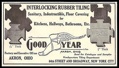 Rubber Tiles 1911 AD Interlocking Rubber Floor Tiles Good Year Akron Ohio AD - Paperink Graphics