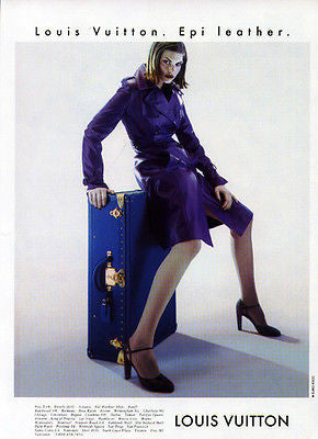 Louis Vuitton Epi Leather Purple 1997 Fashion Model Sensuality Ad - Paperink Graphics