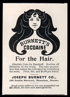 Dandruff Cure AD 1907 Burnett's Cocoaine for Hair Pretty Woman Long Locks Boston