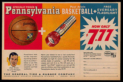 Paul Arizin Basketball Player Philadelphia Warriors PA Basketball AD 1961