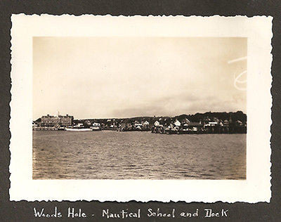 1937 Woods Hole MA Nautical School Dock Antique Photograph Mounted Album Paper