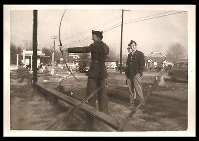 Archery Competition Bow and Arrow Soldiers in Uniform Action Vintage Photograph - Paperink Graphics