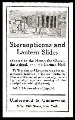 Antique Photography Ad Stereopticons Lantern Slides Underwood 1911 - Paperink Graphics