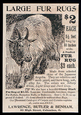 Japanese Angolia Sheep Antique Ad 1893 Fur Rug Advertisement