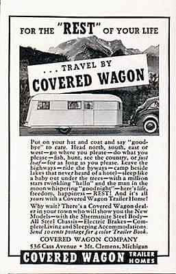 Trailer Covered Wagon Trailer Homes 1937 Print AD