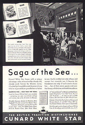 Cunard White Star Queen Mary Main Restaurant 1938 Photo AD - Paperink Graphics