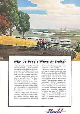 Budd Stainless Steel Trains RR Why... Wave?  Leslie Ragan Art 1949 Ad