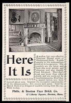 Fireplace Mantel Ornamental Face Brick 1898 Photo AD