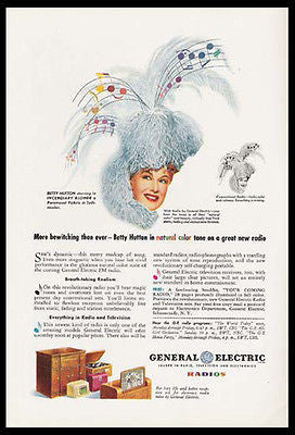 Betty Hutton Musical Notes GE Radio 1945 Movie Star Ad - Paperink Graphics