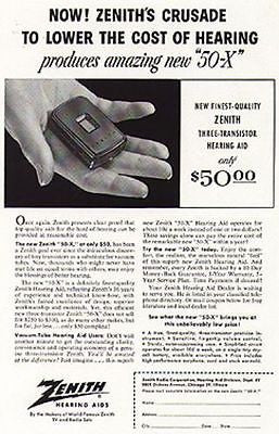1955 Zenith Hearing Aid Ad for the new 50-X Transistor Medical Device - Paperink Graphics