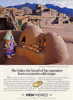 Taos Pueblo Baking Bread Earthen Oven New Mexico Culture 1993 Ad - Paperink Graphics