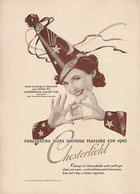 Wizard January Girl Hat Chesterfield Cigarettes 1940 AD - Paperink Graphics