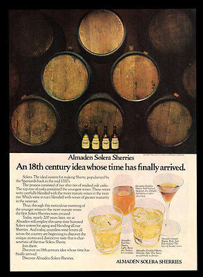 Wine Casks Bottles 1976 Almaden Vineyards California Solera Sherries Photo AD