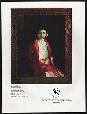 Young Girl Portrait Gallery Art AD 1981 Randall Davey Artist Artwork Advertising - Paperink Graphics