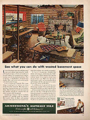 Log Cabin Rustic Interior Armstrong 1950 Ad LOG HOME - Paperink Graphics