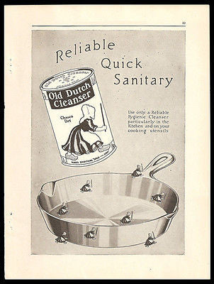 Old Dutch Cleanser 1917 Print Ad Miniature Dutch Girls Chase Pan Dirt