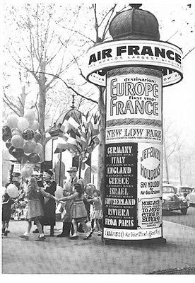 Air France Aviation Travel Kiosk Vintage 1964 Ad Signage Balloons Flags Tourism - Paperink Graphics