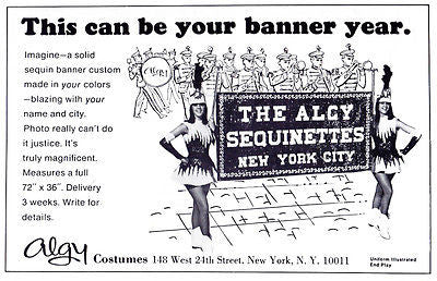 Algy Costumes AD 1967 Advertisement Sequin Banner Majorettes Band Advertising - Paperink Graphics