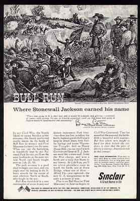 Bull Run Battleground Civil War General Stonewall Jackson 1960 Sinclair Oil AD - Paperink Graphics