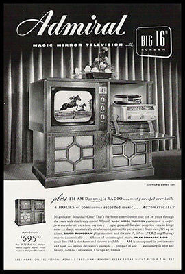 "Admiral Television Big 16"" Screen Phonograph RADIO Set 1949 Ad"
