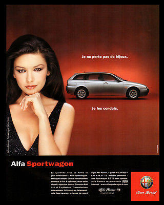 Alfa Romeo Sportwagon 2000 French Text Catherine Zeta-Jones Photo Illustrated AD