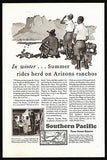 Arizona Ranchos Ad 1929 Fred Ludekens Sgn Art Southern Pacific Lines Map