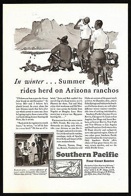 Arizona Ranchos Ad 1929 Fred Ludekens Sgn Art Southern Pacific Lines Map - Paperink Graphics