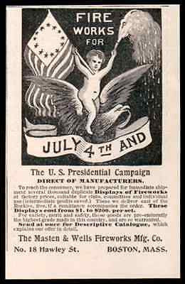 Fireworks Eagle 1896 AD Graphic Arts Patriotic July 4th Flags Americana