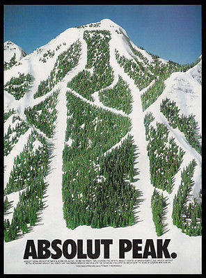 Absolut Peak Mountain Ski Slope 1994 Photo Ad Absolut Vodka - Paperink Graphics
