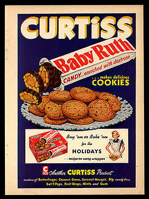 Candy Baby Ruth Bar Cookies 1952 Print Ad - Paperink Graphics