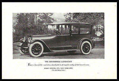 Locomobile Landaulet 1920 Hare's Motors NYC Auto Car Photo Illustration Print Ad - Paperink Graphics