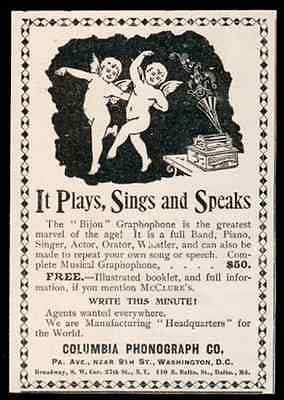 Columbia Phonograph Company 1896 Antique Ad Bijou Graphophone Cupids Dance Music - Paperink Graphics