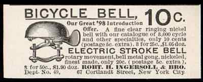 Bicycle Bell Electric Stroke Nickel Bell Ingersoll NYC 1898 Ad