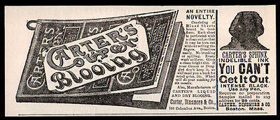 Carter's Coupon Blooing & Sphinx Ink 1889 Two Print ADs